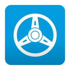 Etiqueta tipo app azul simbolo volante