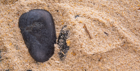 Beach Sand And Zen Stone