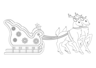 Reindeer and Sleigh Coloring Book Page
