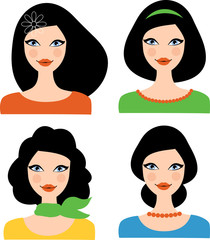 Set of retro women