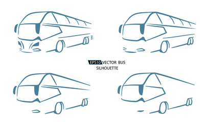 Silhouette of bus, vector illustration on whitei