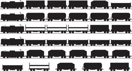 Set of electric trains silhouette illustrated on white