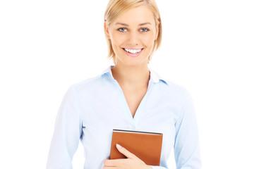 Happy businesswoman with agenda