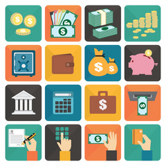 Finance and money flat design icon set, Vector illustration
