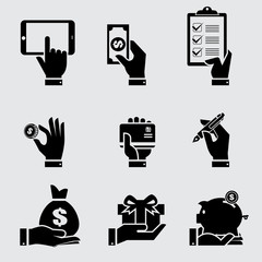 Business hand with object icons se