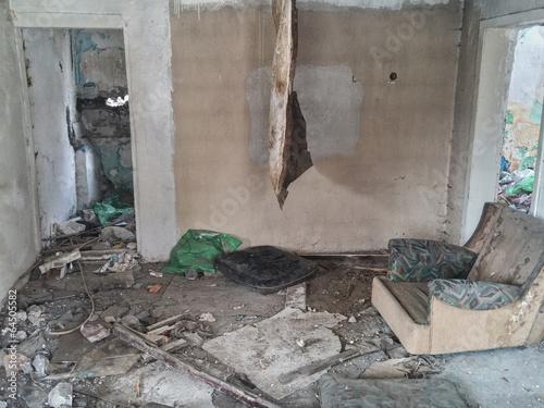 Leinwandbild Motiv house after flood disaster