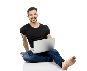 Man working with a laptop