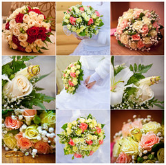 collage of wedding bouquets and rings