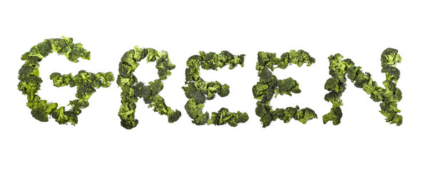 "word ""green"" written with broccoli"