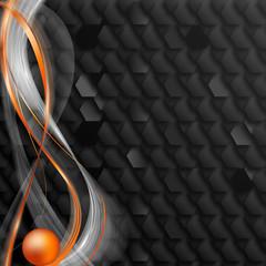 czarne tło i pomarańczowa kula