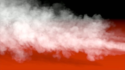 white smoke orange and black background