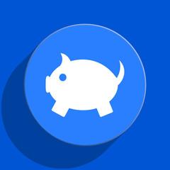 piggy bank blue web flat icon