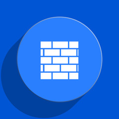 firewall blue web flat icon