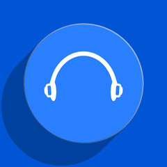 headphones blue web flat icon