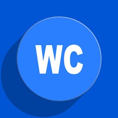 toilet blue web flat icon