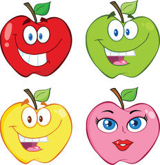 Apple Cartoon Characters. Collection Set