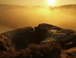 Autumn landscape. Golden sunrise in a beautiful Saxony rocks.