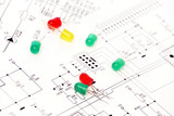 Light diodes. Electric components. poster