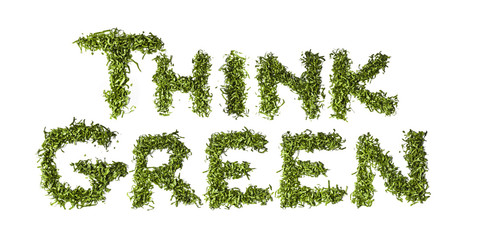 """Think Green"" written with salad"