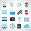 Flat Icons Set - Isolated On Gray Background