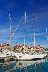 Beautiful boats at Eden Island marina,  Mahe, Seychelles