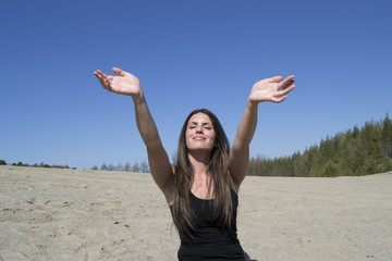 Woman - outstretched arms - life is great & wonderful