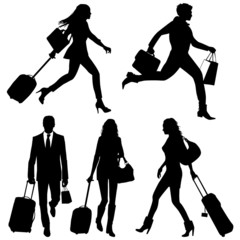 People in a hurry - vector silhouettes.
