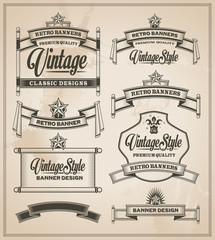 Retro Calligraphic design elements. Vintage banner and ribbons