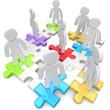 Strichmännchen auf Puzzleteile