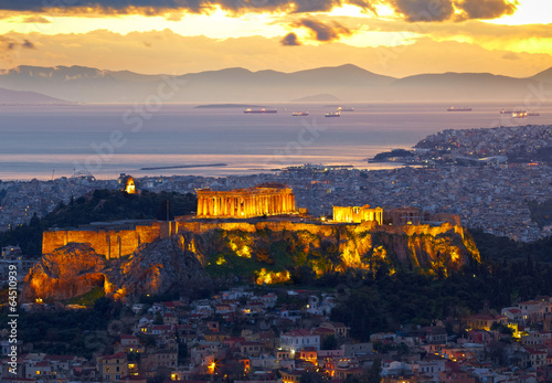 Fotobehang Athene Athens, Greece. After sunset. Parthenon and Herodium constructio