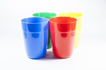 Glass, plastic red green blue. on White background