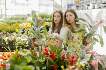 Young women in flower garden