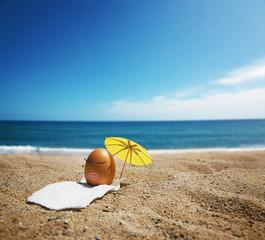 easter egg taking sun bath