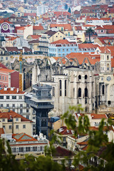 View of Santa Justa's elevator tower in Lisbon.