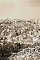 View of Lisbon in sepia tone