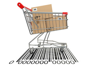 Shopping cart with purchases on bar code.