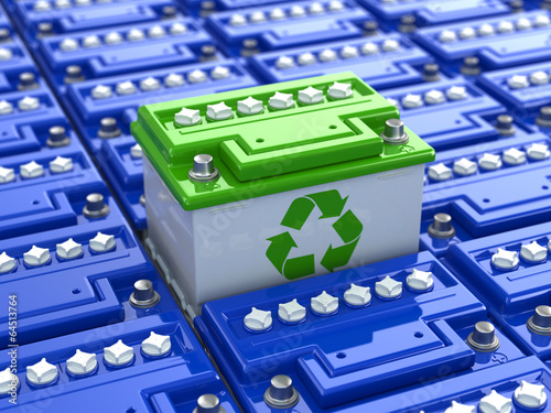 Leinwanddruck Bild Car battery recycling. Green energy. Background from accumulator
