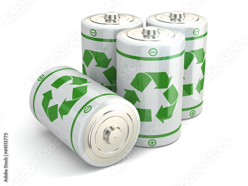 Leinwanddruck Bild Battery green recycling concept.