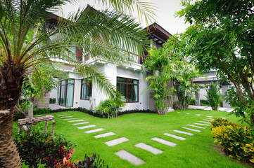 Modern house in the garden