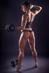 Muscular athletic woman in lingerie