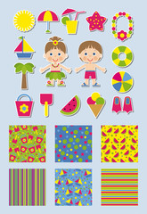 summer collection of backgrounds and stickers for scrapbook