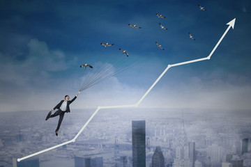 Flying businesswoman symbolizing growth investment