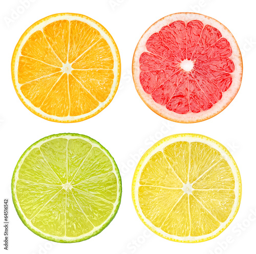 canvas print picture Slices of citrus fruits isolated on white