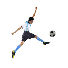 Football player kicking ball isolated 1