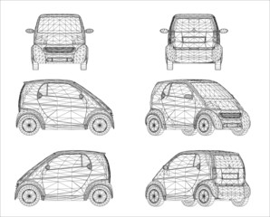 Wireframe design of mini car