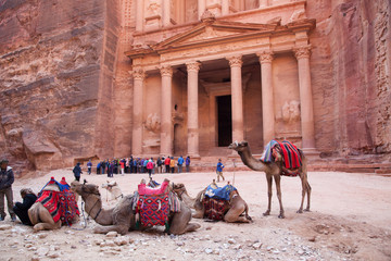 Petra, Jordan, first century lost city, with camels