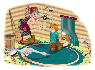 Girl, boy and geese - Russian fairy tale