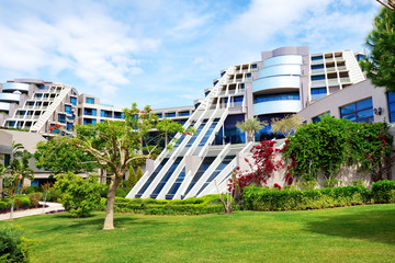 The lawn and building of luxury hotel, Antalya, Turkey