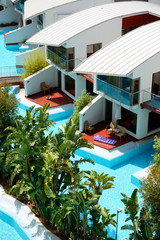 Modern villas with swimming pool at luxury hotel, Antalya, Turke