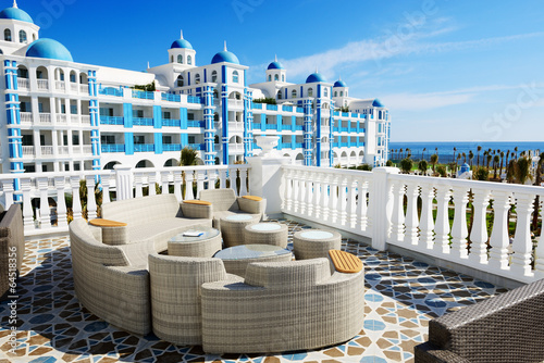 The terrace and building of luxury hotel, Antalya, Turkey